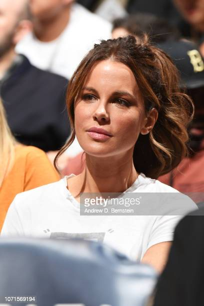 Actress Kate Beckinsale attends a game between the Los Angeles Lakers and Miami Heat on December 10 2018 at STAPLES Center in Los Angeles California...