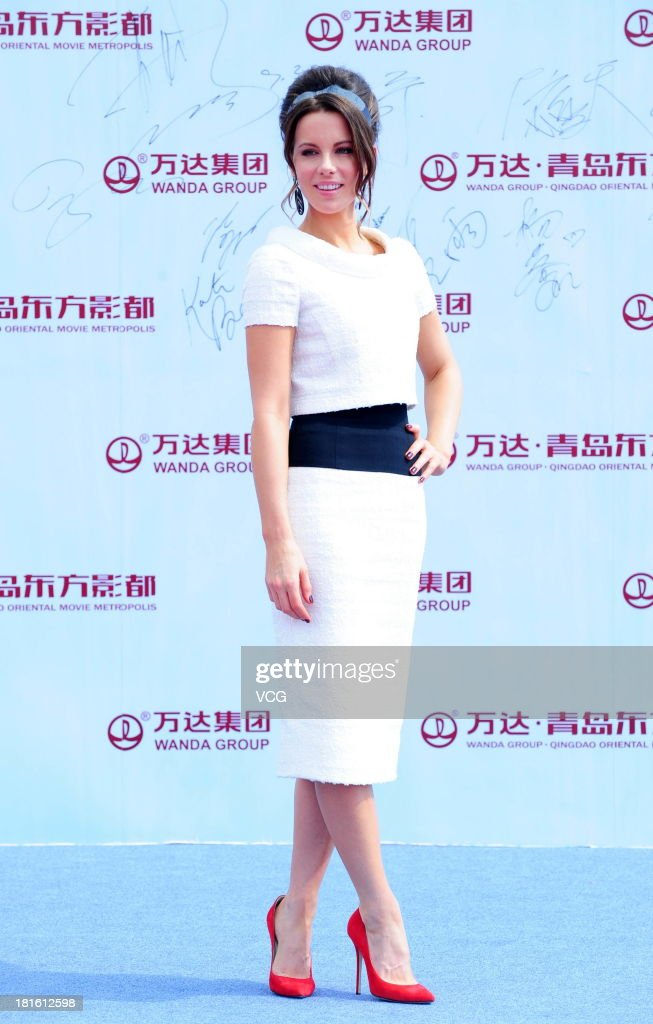 Actress Kate Beckinsale attends a launching ceremony for the Qingdao Oriental Movie Metropolis on September 22, 2013 in Qingdao, China.