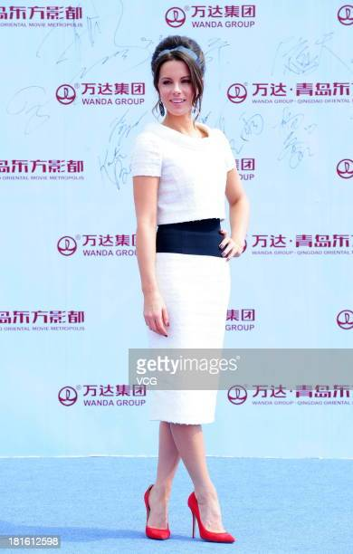 Actress Kate Beckinsale attends a launching ceremony for the Qingdao Oriental Movie Metropolis on September 22 2013 in Qingdao China