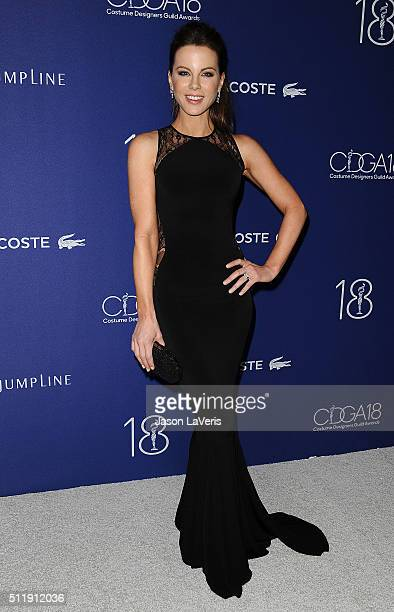Actress Kate Beckinsale attends the 18th Costume Designers Guild Awards at The Beverly Hilton Hotel on February 23 2016 in Beverly Hills California