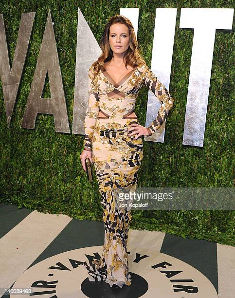 Actress Kate Beckinsale attends the 2012 Vanity Fair Oscar Party at Sunset Tower on February 26 2012 in West Hollywood California