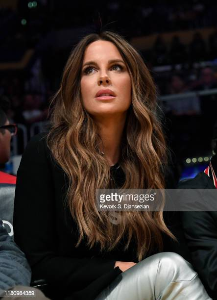 Actress Kate Beckinsale attends the basketball game between Miami Heat and Los Angeles Lakers at Staples Center on November 8, 2019 in Los Angeles,...