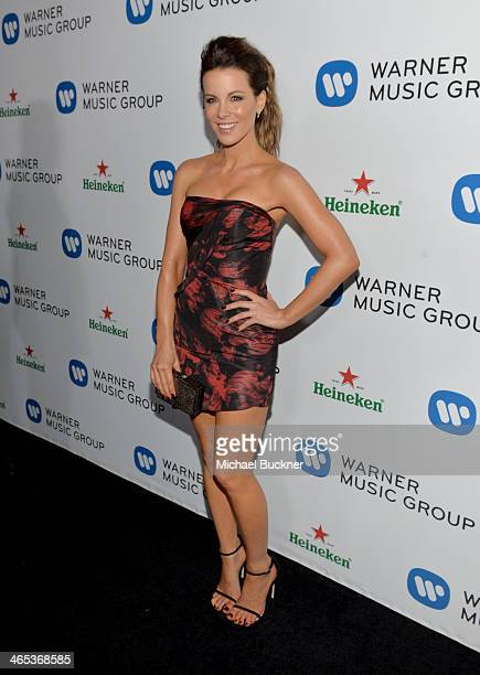 Actress Kate Beckinsale attends the Warner Music Group annual GRAMMY celebration on January 26 2014 in Los Angeles California