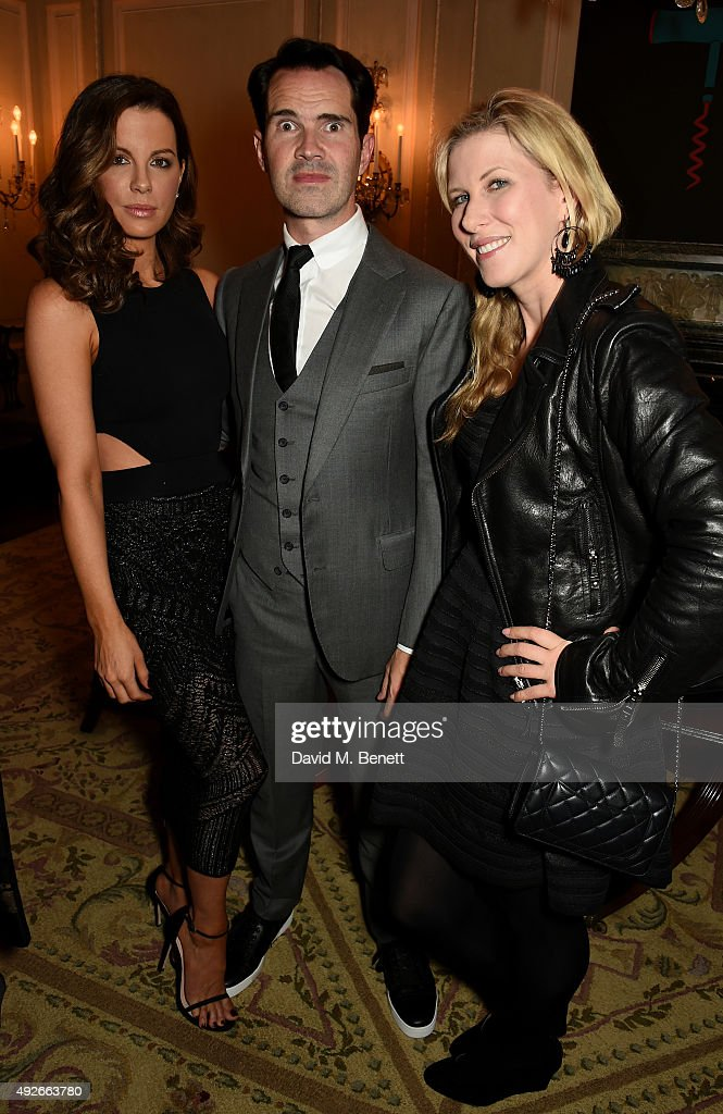 Actress Kate Beckinsale, comedian Jimmy Carr and Karoline Copping attend The Academy Of Motion Pictures Arts & Sciences new members reception hosted by Ambassador Matthew Barzun and Mrs Brooke Barzun at the American Ambassadors Residence, Winfield House, Regents Park on October 14, 2015 in London, England.