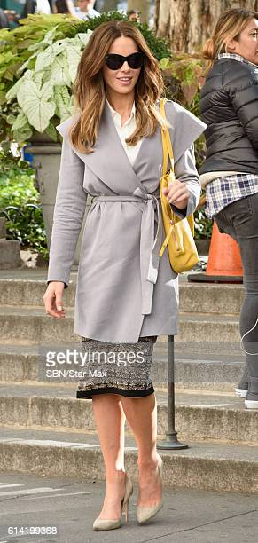 Actress Kate Beckinsale is seen on October 12, 2016 on the set of 'The Only Living Boy in New York' in New York City.