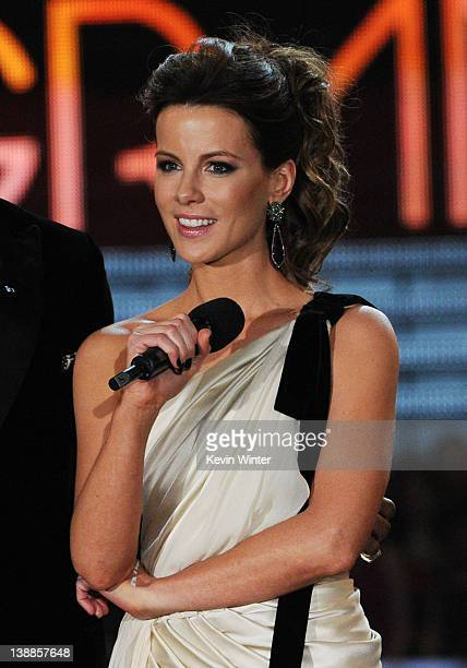 Actress Kate Beckinsale performs onstage at the 54th Annual GRAMMY Awards held at Staples Center on February 12 2012 in Los Angeles California