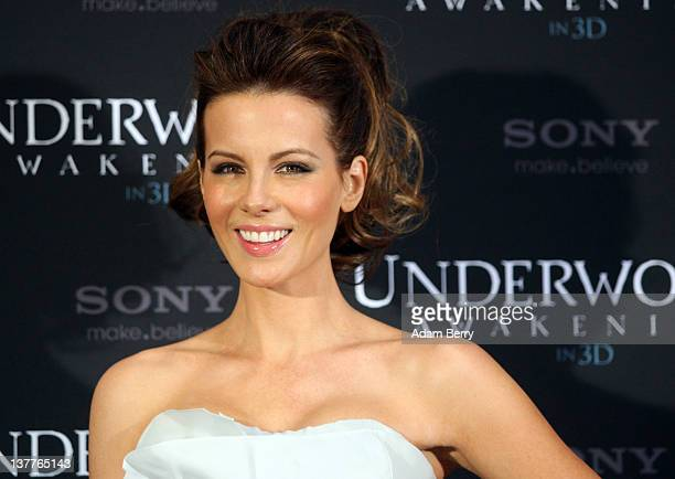Actress Kate Beckinsale poses at a photo call for her film 'Underworld Awakening' on January 26 2012 in Berlin Germany The 3D film in which...