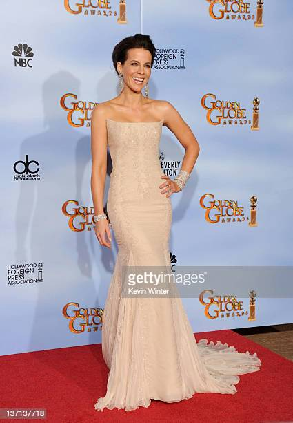 Actress Kate Beckinsale poses in the press room at the 69th Annual Golden Globe Awards held at the Beverly Hilton Hotel on January 15 2012 in Beverly...