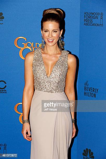Actress Kate Beckinsale poses in the press room during the 72nd Annual Golden Globe Awards at The Beverly Hilton Hotel on January 11, 2015 in Beverly...