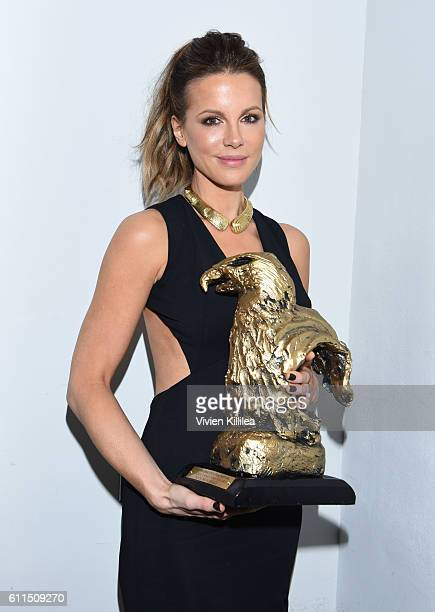 Actress Kate Beckinsale receives an award at the 2016 San Diego International Film Festival on September 29 2016 in San Diego California