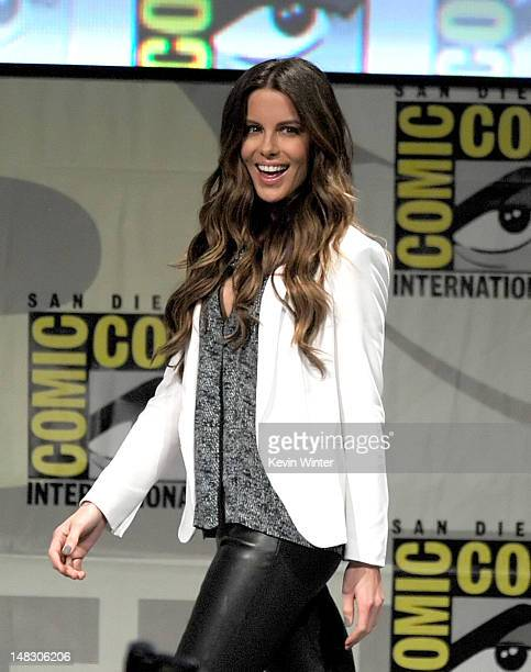 Actress Kate Beckinsale speaks during Sony's Total Recall panel during ComicCon International 2012 at San Diego Convention Center on July 13 2012 in...