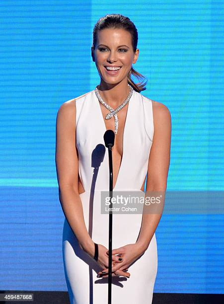 Actress Kate Beckinsale speaks onstage at the 2014 American Music Awards at Nokia Theatre LA Live on November 23 2014 in Los Angeles California