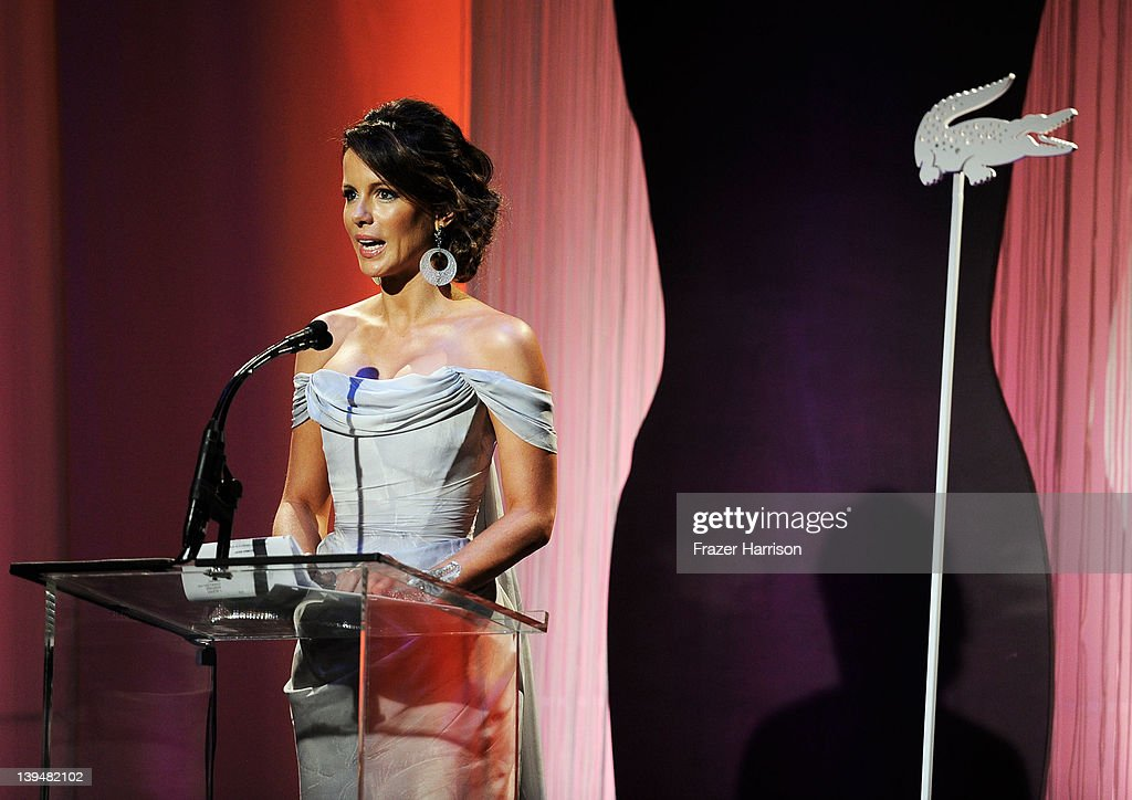 Actress Kate Beckinsale speaks onstage during the 14th Annual Costume Designers Guild Awards With Presenting Sponsor Lacoste held at The Beverly Hilton hotel on February 21, 2012 in Beverly Hills, California.