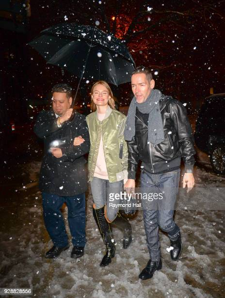 Actress Kate Bosworth and Michael Polish are seen walking in Soho in Snow on March 7 2018 in New York City