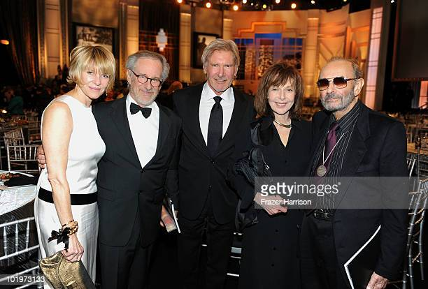 Actress Kate Capshaw AFI Board Member Steven Spielberg actor Harrison Ford writer Elaine May and Director Stanley Donen in the audience during the...