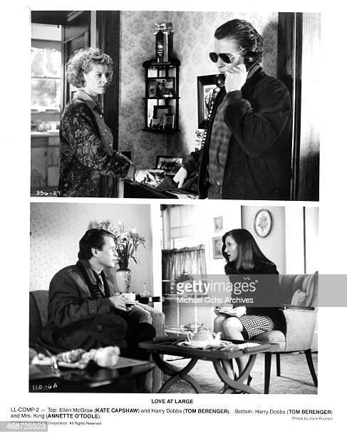 Actress Kate Capshaw and actor Tom Berenger actor Tom Berenger and actress Annette O'Toole on set of the Orion Picture movie Love at Large circa 1990