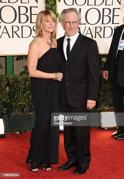 Actress Kate Capshaw and director Steven Spielberg arrive at the 68th Annual Golden Globe Awards held at The Beverly Hilton hotel on January 16 2011...