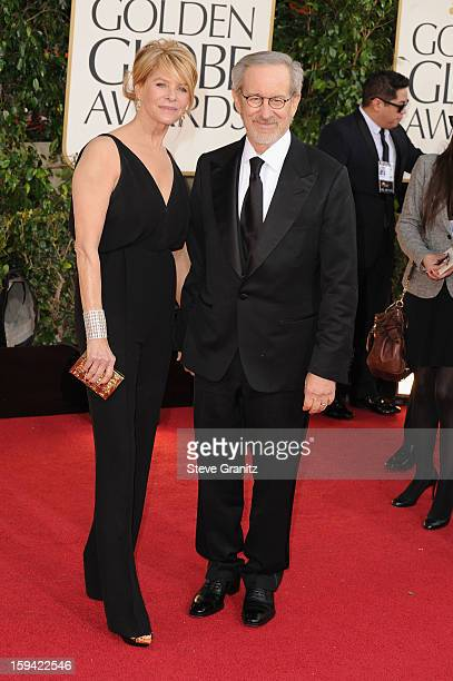 Actress Kate Capshaw and director Steven Spielberg arrive at the 70th Annual Golden Globe Awards held at The Beverly Hilton Hotel on January 13 2013...