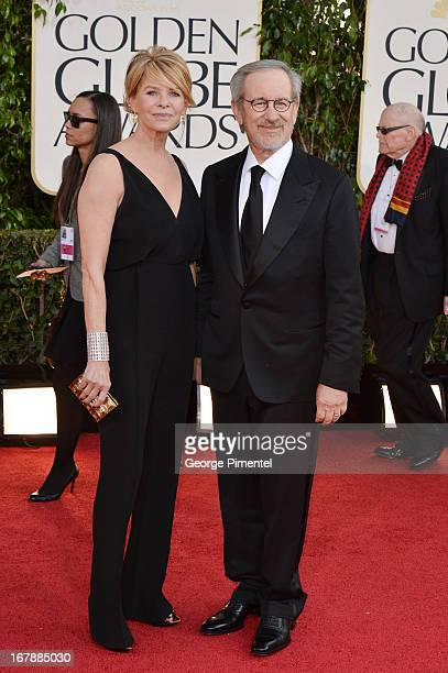Actress Kate Capshaw and director Steven Spielberg arrive at the 70th Annual Golden Globe Awards held at The Beverly Hilton Hotel on January 13, 2013...