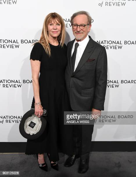 Actress Kate Capshaw and director Steven Spielberg attend the 2018 National Board of Review Awards Gala at Cipriani 42nd Street on January 9 2018 in...