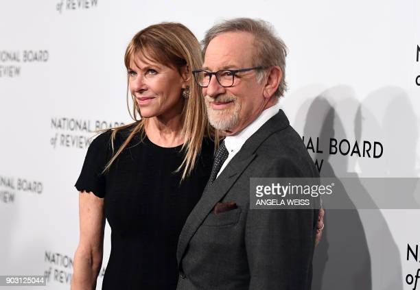 Actress Kate Capshaw and director Steven Spielberg attend the 2018 National Board of Review Awards Gala at Cipriani 42nd Street on January 9, 2018 in...