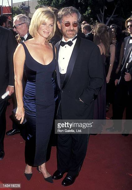 Actress Kate Capshaw and director Steven Spielberg attend the 47th Annual Primetime Emmy Awards on September 10, 1995 at the Pasadena Civic...