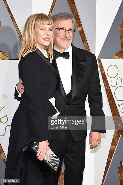 Actress Kate Capshaw and director Steven Spielberg attend the 88th Annual Academy Awards at Hollywood Highland Center on February 28 2016 in...