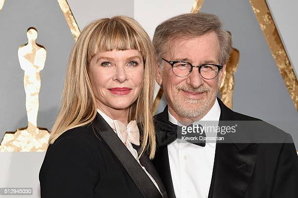 Actress Kate Capshaw and director Steven Spielberg attend the 88th Annual Academy Awards at Hollywood & Highland Center on February 28, 2016 in...