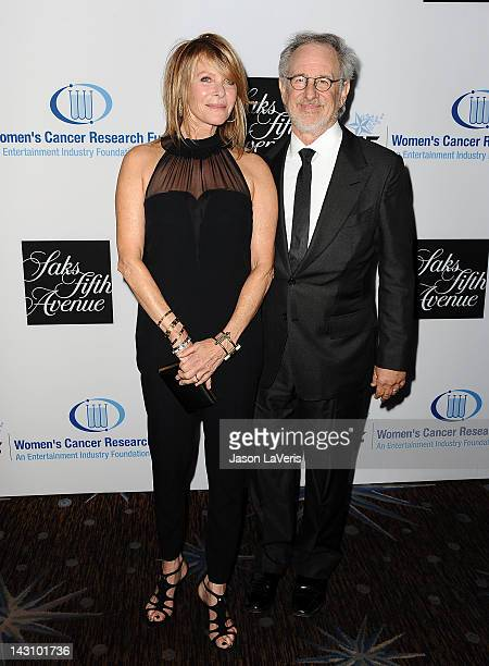 Actress Kate Capshaw and director Steven Spielberg attend the Unforgettable Evening benefit at The Beverly Hilton Hotel on April 18 2012 in Beverly...