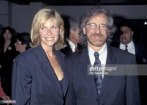"Actress Kate Capshaw and director Steven Spielberg attend ""The Bridges of Madison County"" Burbank Premiere on May 30, 1995 at the Steven J. Ross..."