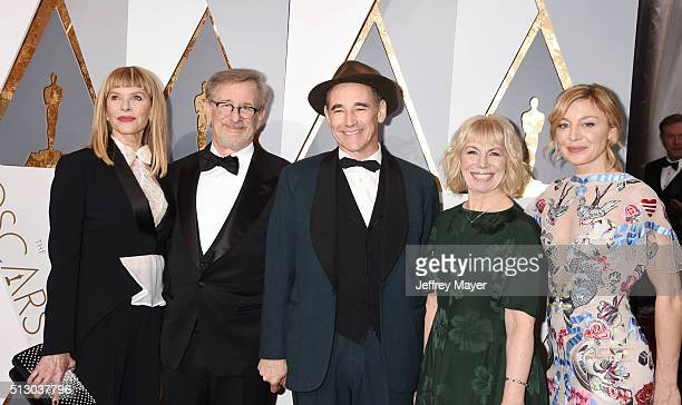 Actress Kate Capshaw director Steven Spielberg actor Mark Rylance playwright Claire van Kampen and Juliet Rylance arrive at the 88th Annual Academy...