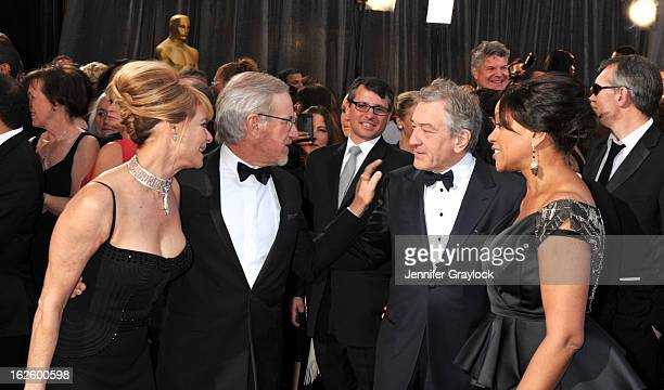 Actress Kate Capshaw, director Steven Spielberg, actor Robert De Niro and his wife Grace Hightower attend the 85th Annual Academy Awards held at the...