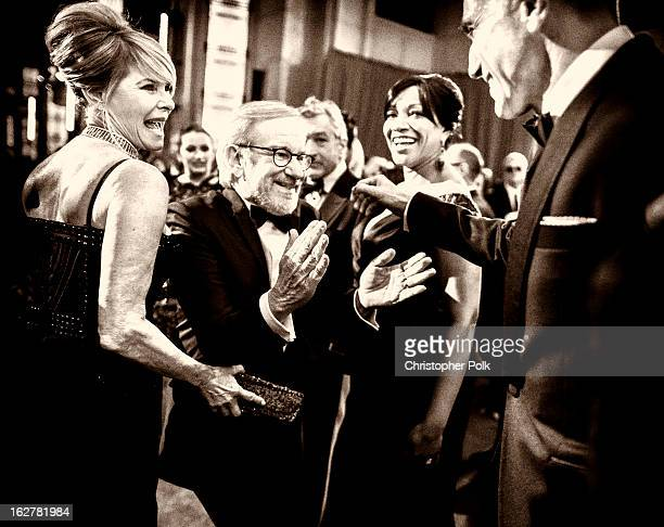 Actress Kate Capshaw, director Steven Spielberg, actor Robert De Niro and wife Grace Hightower, and actor Daniel Day-Lewis arrive at the Oscars at...