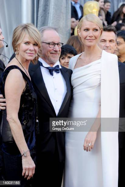 Actress Kate Capshaw director Steven Spielberg and actress Gwyneth Paltrow arrive at the 84th Annual Academy Awards at Hollywood Highland Center on...