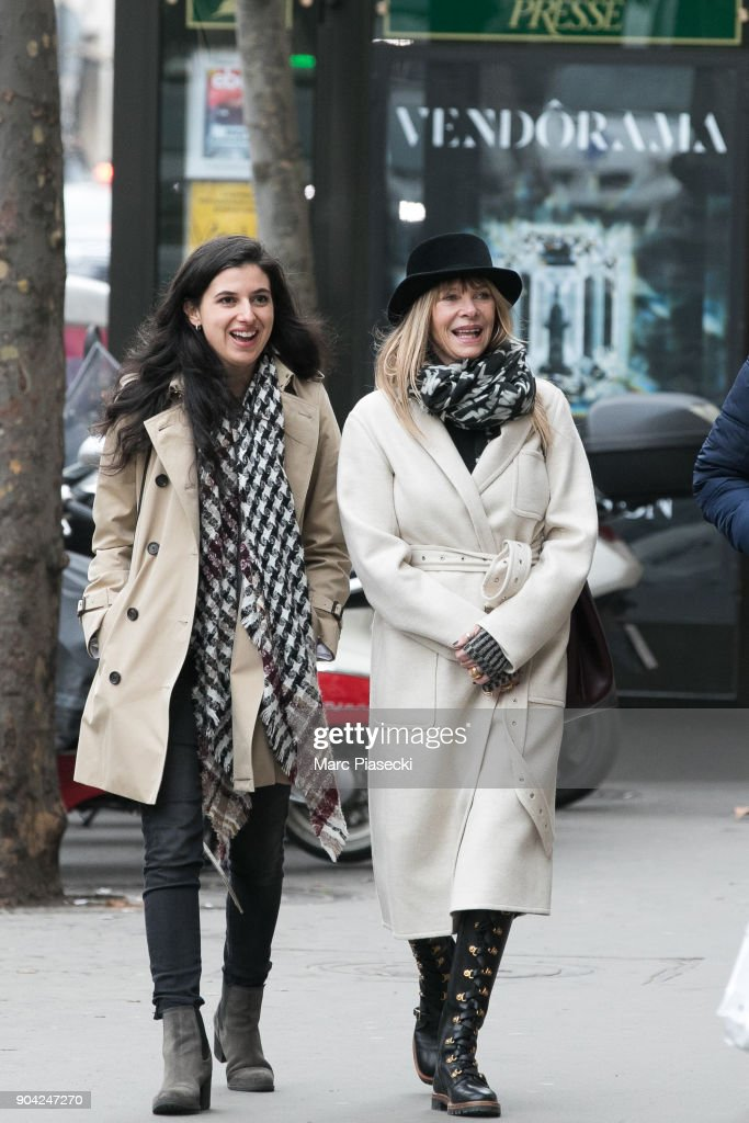Actress Kate Capshaw (R) is seen on Rue Royale on January 12, 2018 in Paris, France.