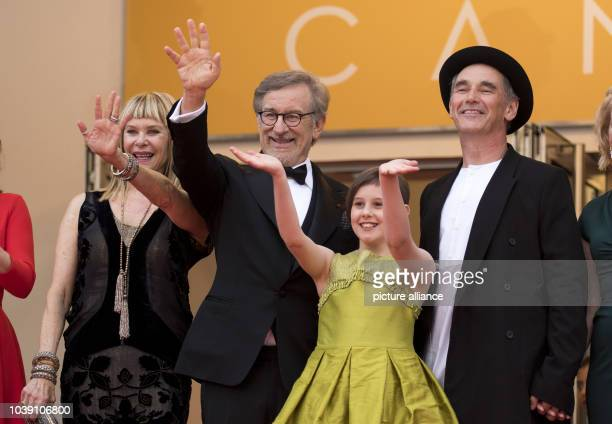 Actress Kate Capshaw , Steven Spielberg, actors Ruby Barnhill and Mark Rylance attend the premiere of 'The BFG' during the 69th Annual Cannes Film...