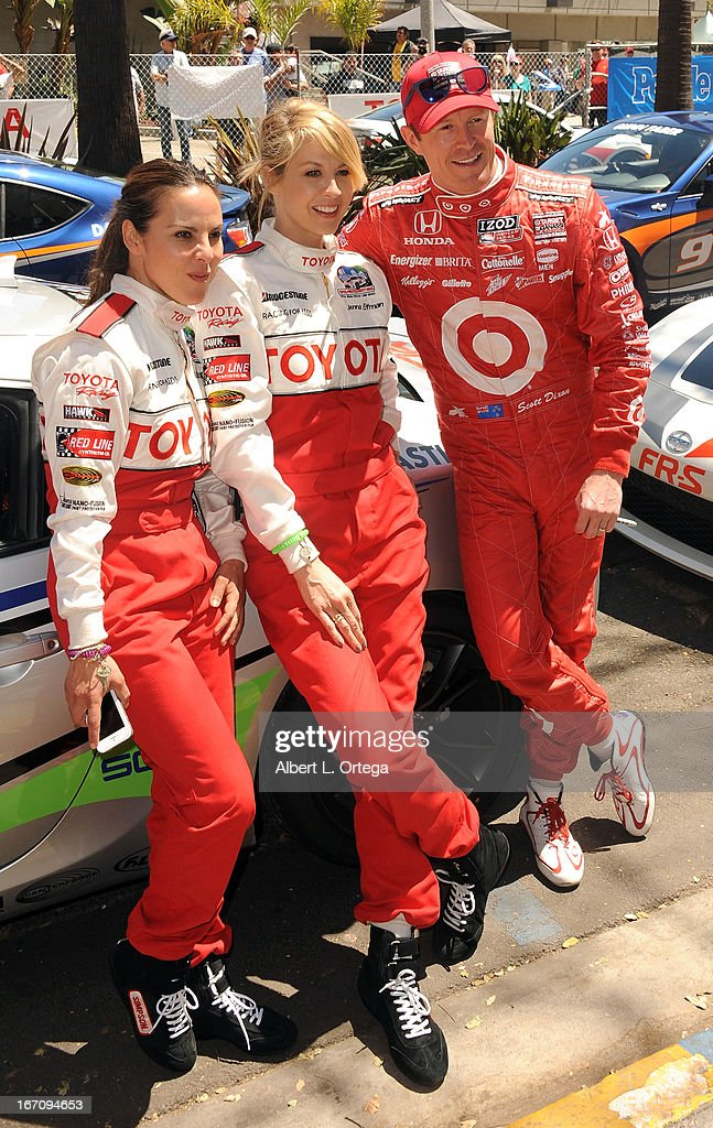 Actress Kate del Castillo, actress Jenna Elfman and NASCAR driver Scott Dixon participate in the 37th Annual Toyota Pro/Celebrity Race - Qualifying Day held on April 19, 2013 in Long Beach, California.