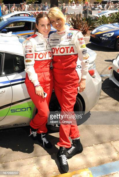 Actress Kate del Castillo and actress Jenna Elfman participate in the 37th Annual Toyota Pro/Celebrity Race Qualifying Day held on April 19 2013 in...