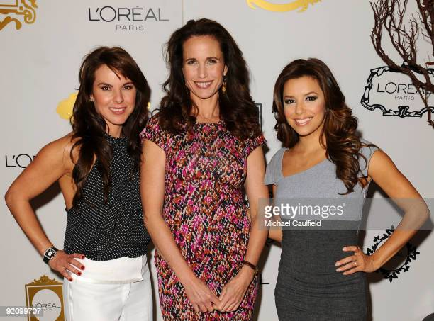 Actress Kate del Castillo Andie MacDowell and Eva Longoria Parker attend the Friend of The Walk of Fame award party in honor of L'Oreal Paris at Beso...