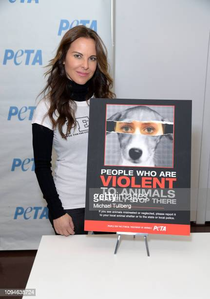 Actress Kate del Castillo launches her new PETA Latino campaign against violence towards animals at PETA's Bob Barker Building on January 15 2019 in...