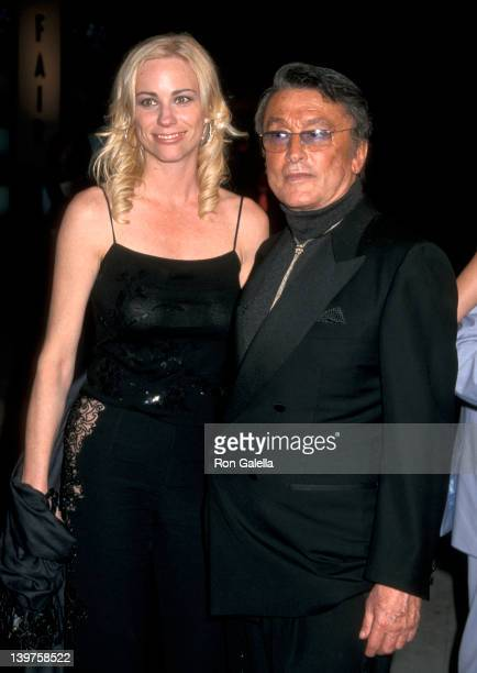 Actress Kate Driver and producer Robert Evans attend Vanity Fair Oscar Party on March 25 2001 at Morton's Restaurant in West Hollywood California
