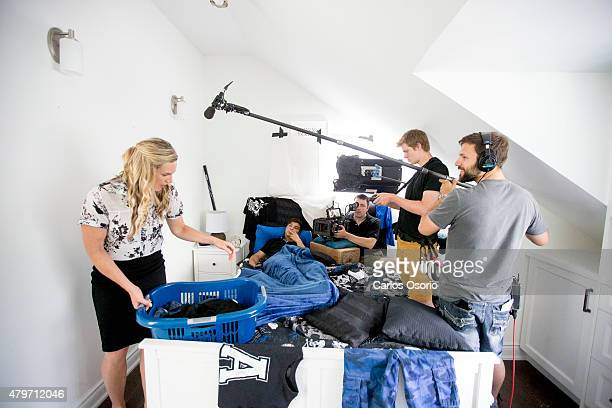 TORONTO ON JUNE 26 Actress Kate Drummond actor Luke Bilyk director of photography Mark Forand 1st assistant camera Will Scheffel and boom operator...
