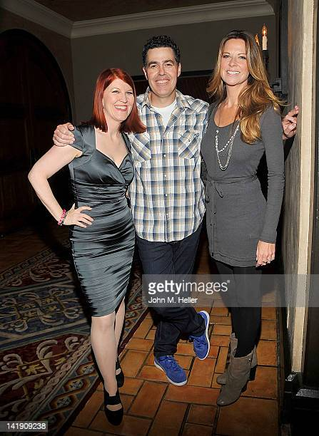 Actress Kate Falnnery radio host and comedian Adam Carolla and actress Mo Collins attend the 11th Annual Comedy For A Cure at the Hollywood Roosevelt...