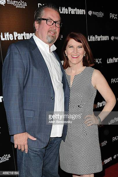 Actress Kate Flannery and Chris Haston arrive at the Los Angeles Premiere of Life Partners at ArcLight Hollywood on November 18 2014 in Hollywood...