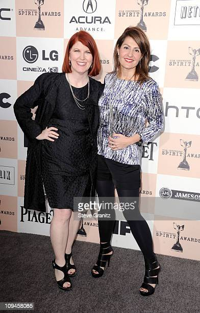 Actress Kate Flannery and Nia Vardalos arrive at the 2011 Film Independent Spirit Awards at Santa Monica Beach on February 26, 2011 in Santa Monica,...