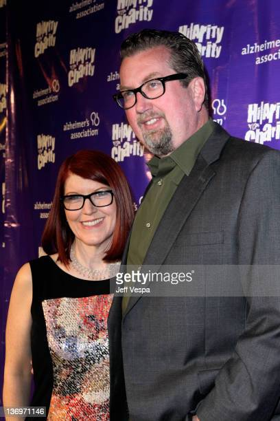 Actress Kate Flannery and photographer Chris Haston arrive at Hilarity For Charity To Benefit The Alzheimer's Association at Vibiana on January 13...