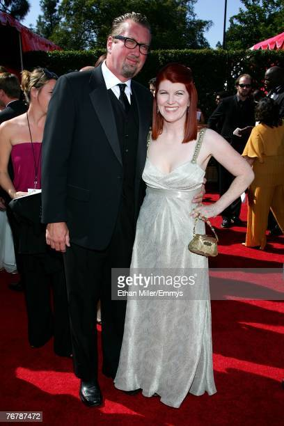 Actress Kate Flannery and photographer Chris Haston arrive at the 59th Annual Primetime Emmy Awards at the Shrine Auditorium on September 16 2007 in...