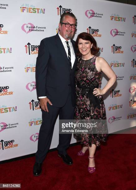 Actress Kate Flannery and photographer Chris Haston arrive at the Farrah Fawcett Foundation's TexMex Fiesta event honoring Stand Up To Cancer at the...