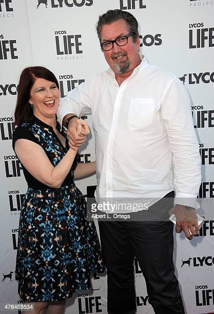 Actress Kate Flannery and photographer Chris Haston arrive for LYCOS Life and the LYCOS Life Project Launch Party with a Kansas Style BBQ and...
