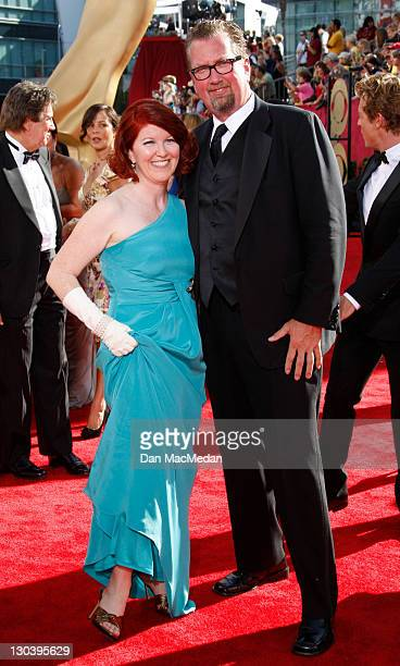 Actress Kate Flannery and photographer Chris Haston arrives at the 61st Primetime Emmy Awards held at the Nokia Theatre on September 20 2009 in Los...